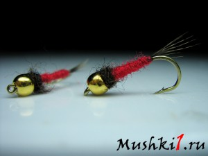 Gold head nymph (Red) N-4