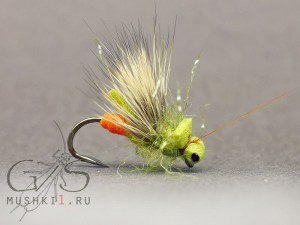 Foam caddis mini (Olive) D-119