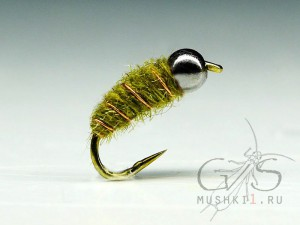 Mini cased caddis (Olive) N-64